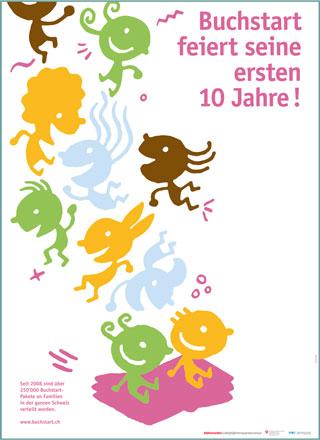 """Affiche(s) """"10 ans Né pour lire"""" en allemand"""