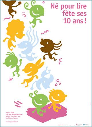 """Affiche(s) """"10 ans Né pour lire"""" en français"""