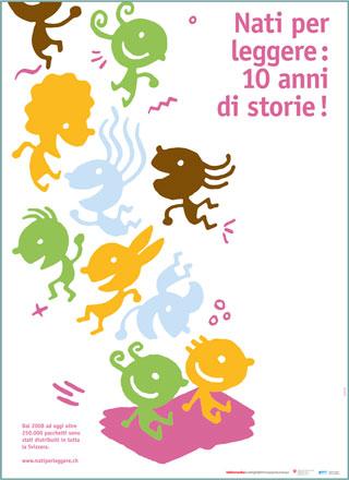 """Affiche(s) """"10 ans Né pour lire"""" en italien"""